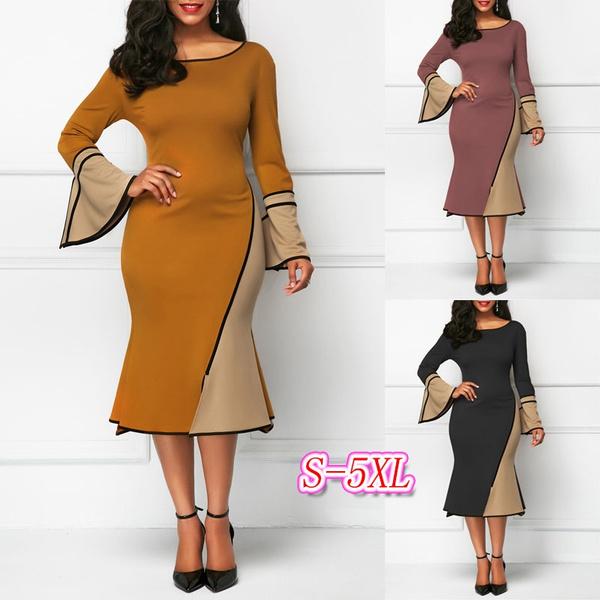 roundneckdres, Sleeve, long dress, fashion dress