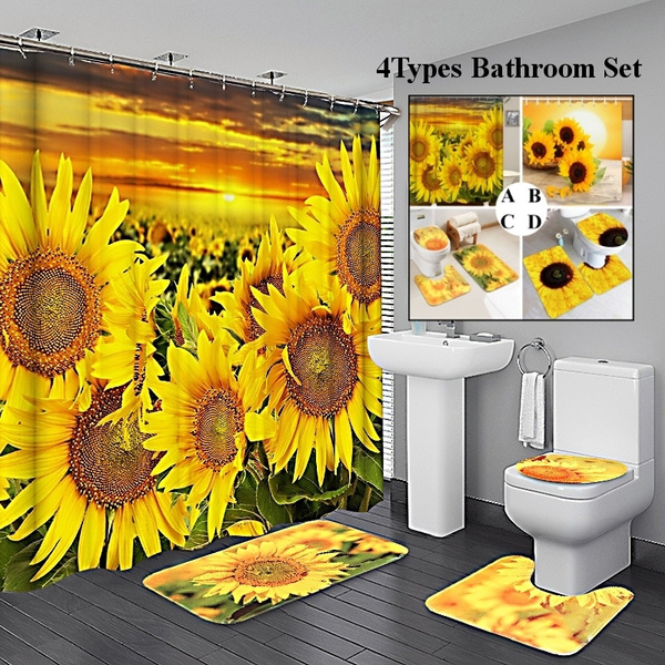 Sunflower Bathroom Set Shower Curtain, Bathroom Sets With Shower Curtain And Rugs