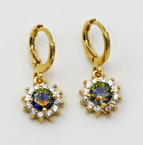yellow gold, rainbow, Hoop Earring, Gemstone Earrings