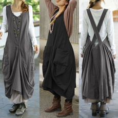 Vintage, dungareedres, long dress, baggydres