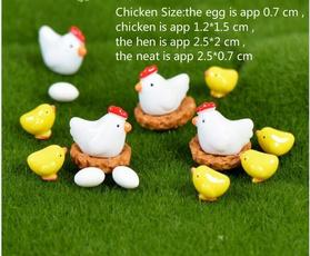 cute, miniaturesmicrolandscape, chickenfamilydecoration, gardeninglandscape