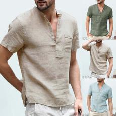 sleeve v-neck, Summer, Plus Size, Shirt