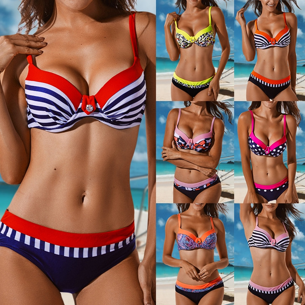 bathing suit, two piece swimsuit, printed, Halter