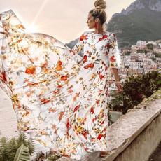 bohemia, Summer, Sleeve, long dress