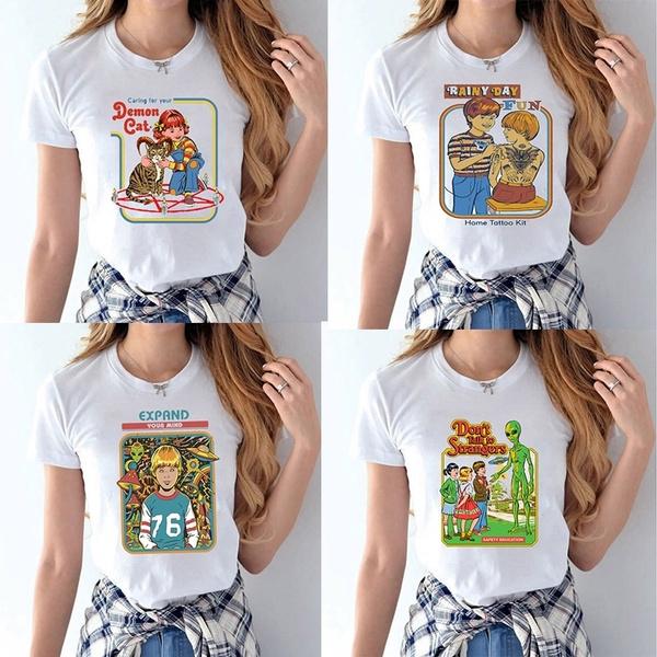 Summer, White T-Shirt Women, ladiestshirt, Graphic T-Shirt