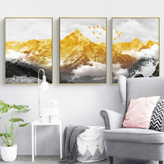 snowmountain, golden, Wall Art, canvaspainting