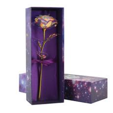 Box, golden, Girlfriend Gift, Flowers