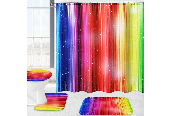 Rainbow Shower Curtain// Bathroom Stripes Toilet Mat Anti-slip Carpet Home Decor