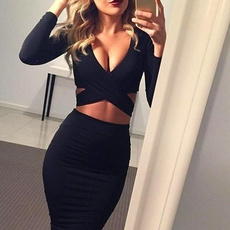 Deep V-Neck, slim dress, Club Dress, slim