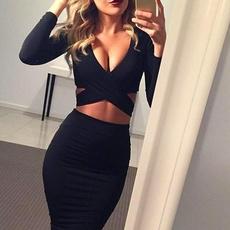Deep V-Neck, slim dress, Club Dress, slim