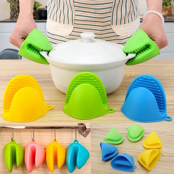 Kitchen Silicone Heat Resistant Gloves Clips Insulation Anti-slip Oven Mitts