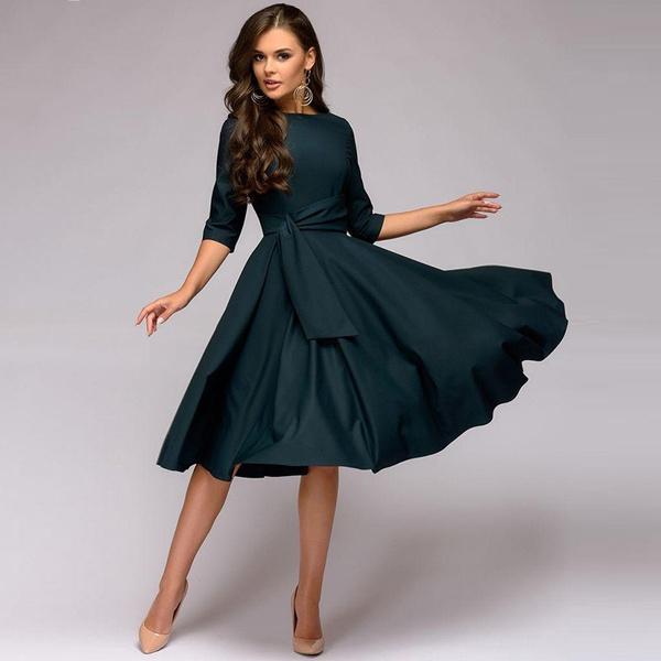Swing dress, pleated dress, Office, ladies dress