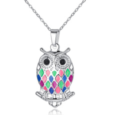 Steel, Owl, Jewelry, Colorful