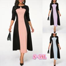 roundneckdres, highwaistdres, color block dress, plus size dress