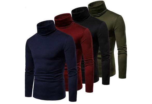 Winter Warm Men/'s High Collar Turtle Neck Skivvy Long Sweater Tops Sleeve J0B2