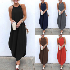 Sleeveless dress, Plus Size, vest dress, long dress