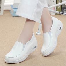 Flats, Genuine, leather, white