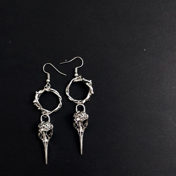 Goth, Dangle Earring, Jewelry, ravenearring