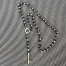 Goth, Necklace, sataniccrossnecklace, gothicrosary