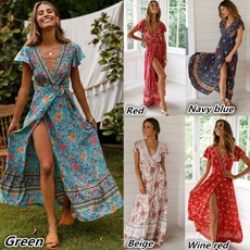 Summer, short sleeve dress, Vintage Dresses, long dress
