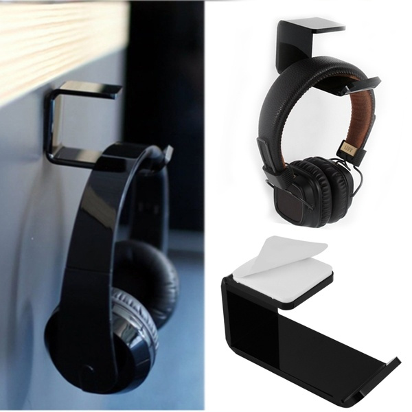 High Quality Acrylic Acrylic Headphone Stand Hanger Hook Tape Under Desk Dual Headset Mount Holder With Strong Sticker Wish