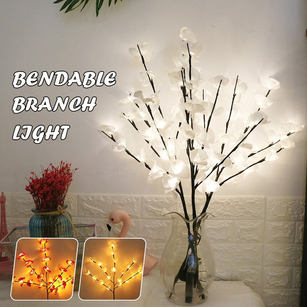 Phalaenopsis Twig Lighted Branches 70cm 20led Pre Lit Artificial Twig Tree Branch Lights For Home Indoor Valentine Decoration Battery Operated 2 Pack Vase Excluded Wish