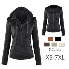 Spring Fashion, motorcyclejacket, Plus Size, hooded