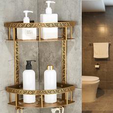 Antique, Brass, cornershelf, Bathroom Accessories