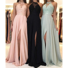 party, Lace, Halter, solid