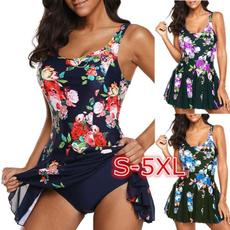 bathing suit, Plus Size, Floral print, Swimming