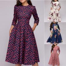 Swing dress, high waist, Sleeve, gowns
