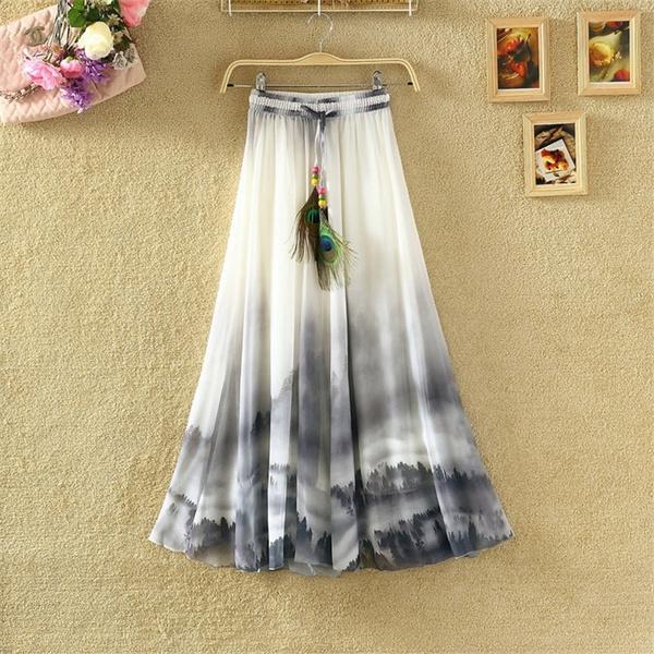 Summer, long skirt, chiffon, Elegant