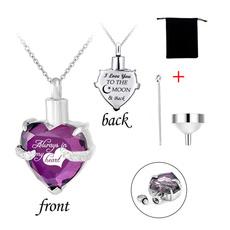 birthstonenecklace, heartbirthstone, Jewelry, cremationjewelryheartglasspendant