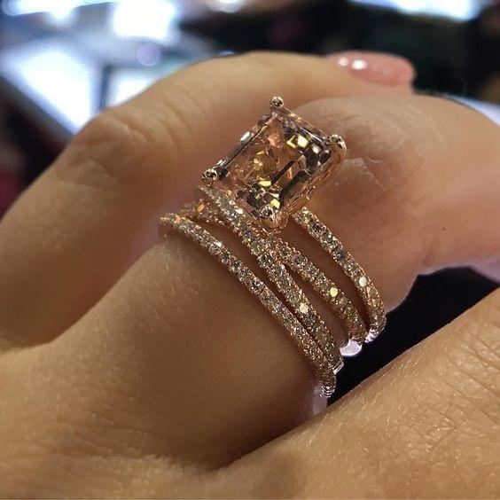 Engagement Wedding Ring Set, Rose, gold, Jewelry