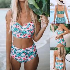 Summer, Floral print, high waist, padded bikini