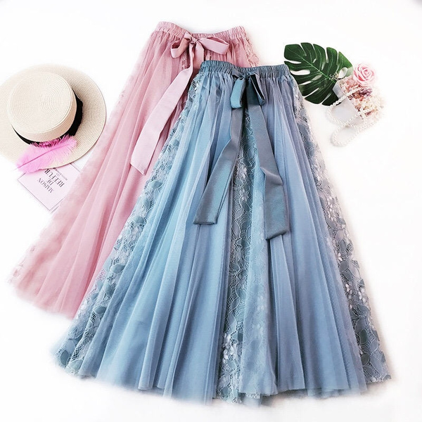 Skater Skirt, Fashion, Lace, Pleated