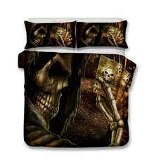 3pcsbeddingset, skull, quiltcover, Home & Living