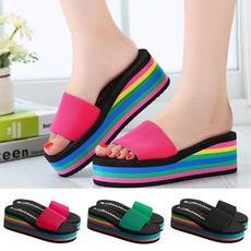 rainbow, Flip Flops, Sandals, wedge