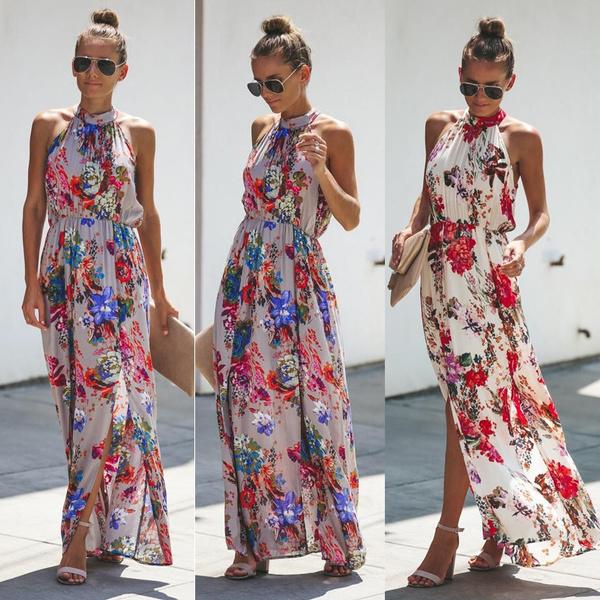 Summer, Fashion, Halter, long dress