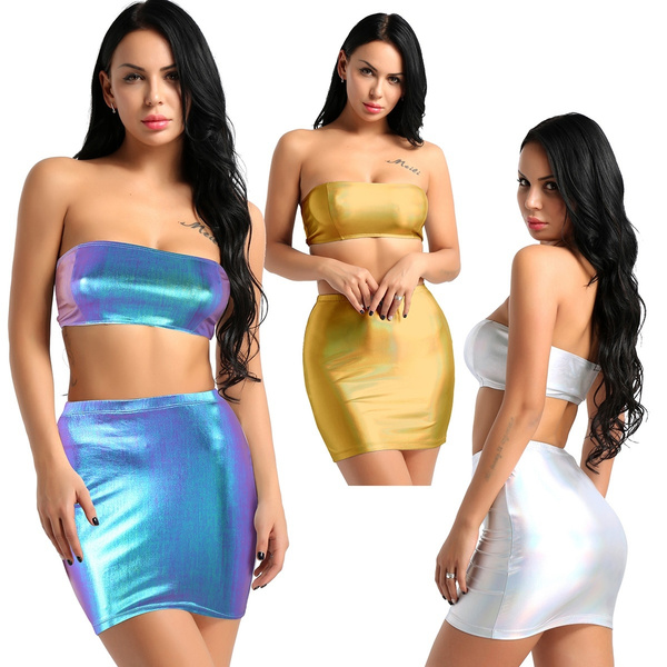 Mini, bandage dress, crop top, Metallic