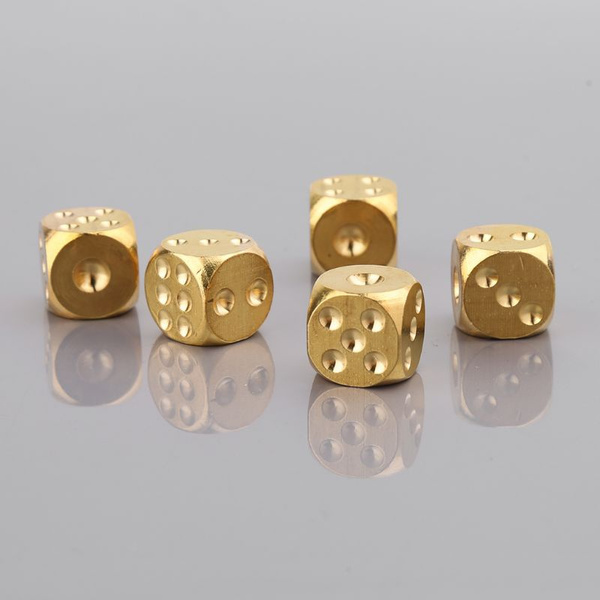 1pc Solid Polished Brass Dice 20mm Metal Cube Copper Poker Bar Board Game Gift Viv Wish