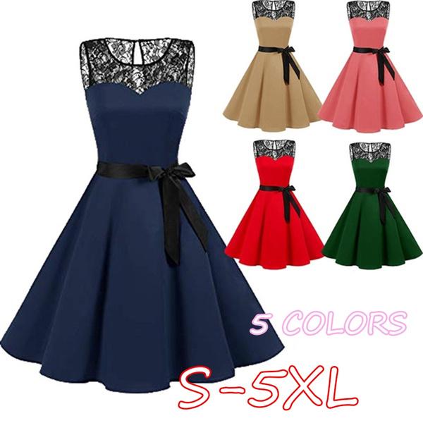 Swing dress, pleated dress, high waist, Vintage