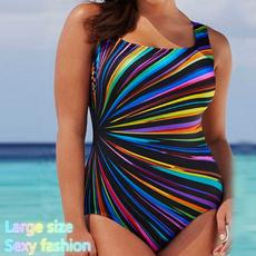 stripeprintswimsuit, sexy, Plus Size, Piece Swimsuit