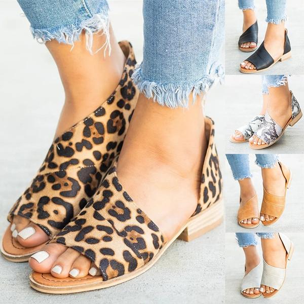 Open Toe Flats Half Low Heel Shoes