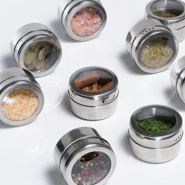 Steel, spicetinsmagnetic, housewares, spicepot