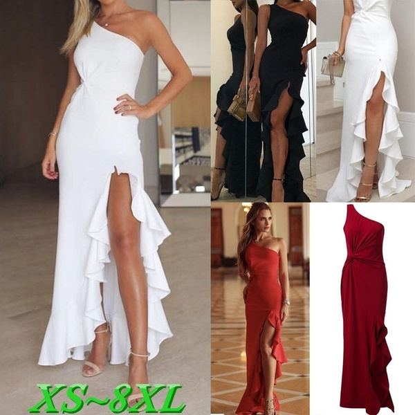 Plus Size, ruffle, one shoulder dress, long dress