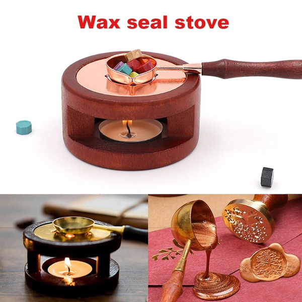 Retro Sealing Wax Furnace Beads Warmer Melting Glue Stove Pot for Wax Stamp