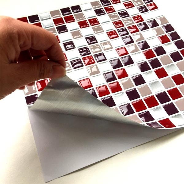 10 10inch Kitchen Backsplash Wallpaper Sticker Self Adhesive Kitchen Aluminum Foil Stickers Oil Proof Waterproof Kitchen Stove Sticker Wish
