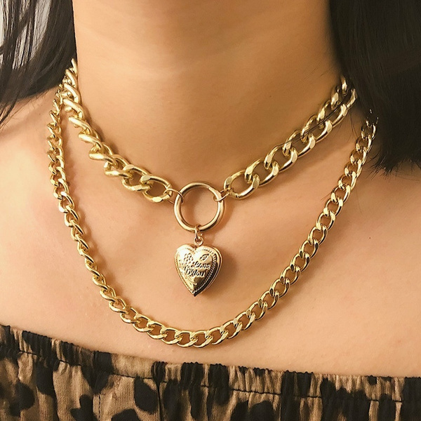 Heart, Fashion necklaces, gold, gold necklace