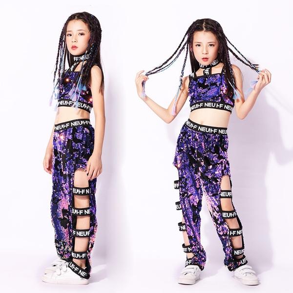 US Girls Modern Jazz Dance Costume Sequins Kids Hip Hop Street Dance Wear Outfit